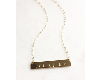 84. Nameplate Bar Necklace - gold filled - sterling  - Aromatherapy