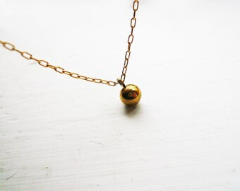 Tiny Gold Ball Necklace in Gold Filled and Brass - Sweet Everyday Gold Necklace
