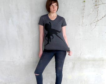 Women's Octopus T-shirt, Limited Edition Animal Shirt, Heather Black
