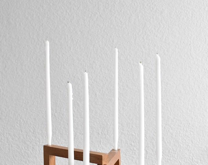 folding mid century modern wooden danish candelabra / candlestick holders / minimalist / scandinavian