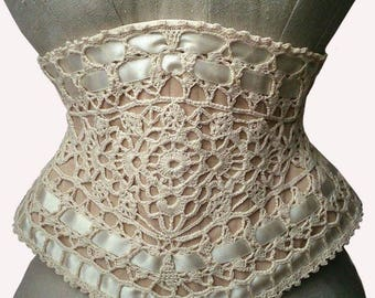 crochet Corset made to measure handmade lace coutil underbust cincher