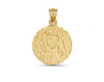 14k solid gold virgin mary medallion. religious pendant. religious jewelry.