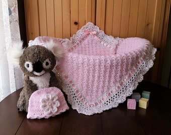 Crochet Baby Blanket,  Crochet Baby Girl Blanket Set,  Baby Shower Gift