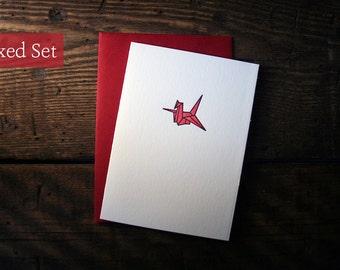 Letterpress Printed Origami Crane Cards (Red)