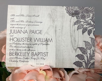 Vintage Lace Wedding Invitation Ensemble