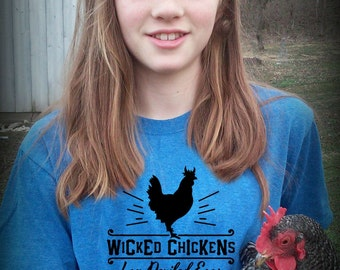 Youth Wicked Chickens T-shirt - chickens, farm kid, backyard chickens, funny chicken shirt, farm shirt