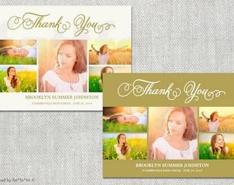 Elegant Script Printable Graduation 5 Photo Collage Thank You Card | Custom Modern Stylish Seniors Graduate Grad Postcard PRINTED /PRINTABLE