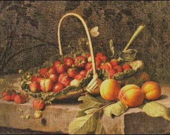 A BASKET Of STRAWBERRIES And PEACHES cross stitch pattern No.665