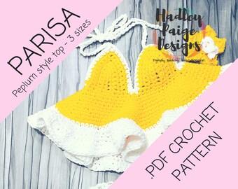 PARISA Peplum Top // crochet pattern // 3 sizes //  instant download - ruffle style halter // Boho kids.  Summer wear. 6 mos - 5 years