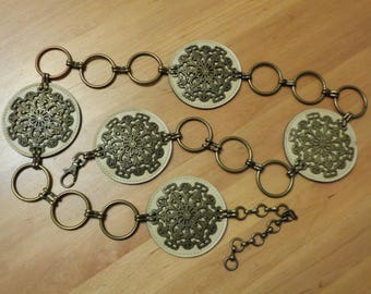 Vintage Belt; Ethnic Style Belt; Faux Leather & Brass Belt; Vintage Boho Belt; Circle Belt; One size Belt M - XL