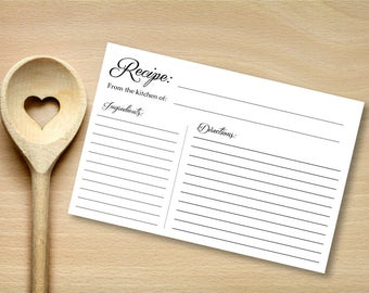Black and White Recipe Cards (12 per pack)
