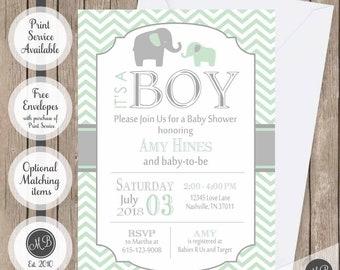 Green and Grey Elephant Baby Shower Invitation, elephant,  chevron baby shower invitation, printable invitation elephant6