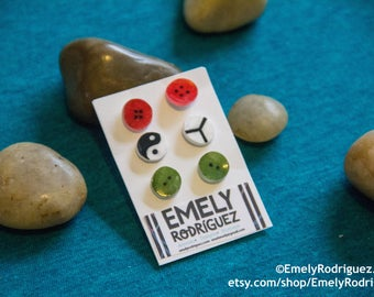 Yin-Yang and Buttons Stud earrings Set