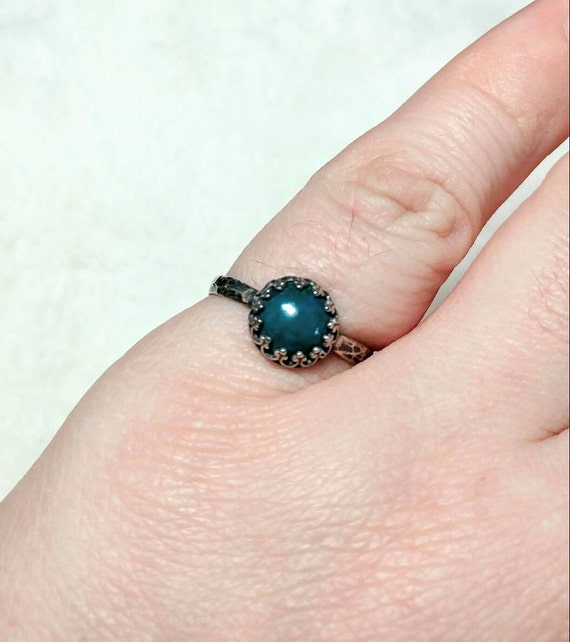 Blue Stone Engagement Ring | Sterling Silver Ring Sz 7.75 | Blue Green Stone Ring | Natural Chrysocolla Jewelry | Simple Green Stone Ring