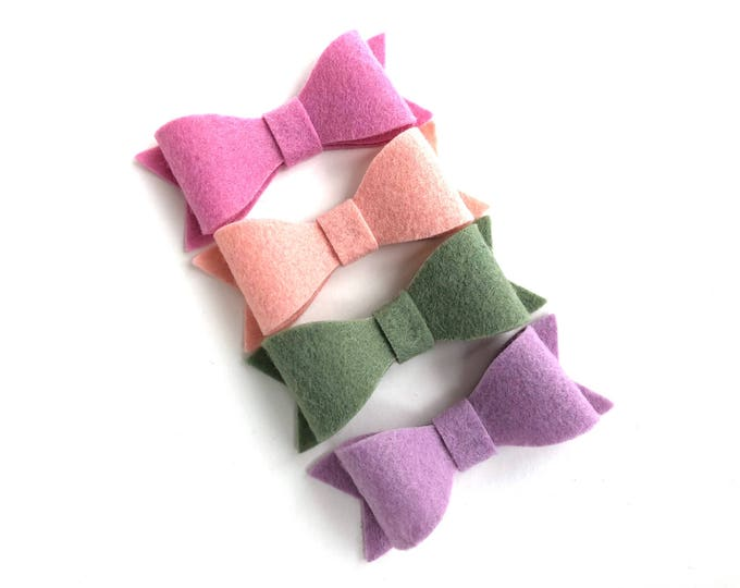 Set of 4 felt hair bows - felt bows, hair bows, girls bows, baby bows, girls hair bows, hair bows for girls, hair clips, toddler bows, bows