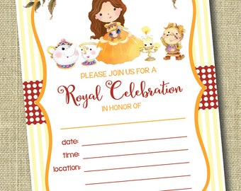 Beauty and the Beast Invitation, Belle Party Invitation, Printable Princess Birthday Party Invitation, Royal Celebration, Instant Download