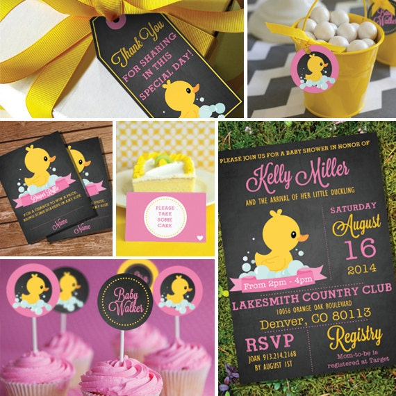 Rubber Ducky Baby Shower Theme Girl Baby Shower Table Decoration