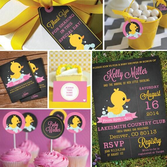 Chalkboard Rubber Duck Baby Shower Theme Girl Baby Shower