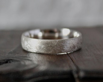 Brushed Silver Ring, Simple Silver Ring, Textured Band, Sand Cast Ring, Matt Finish.