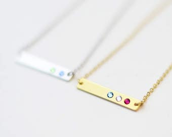 Birthstone Bar Necklace // Mother's Day Gift Crystal Birthstone