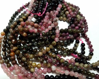 5mm Natural Tourmaline Round Ball Beads 5mm to 5.5mm