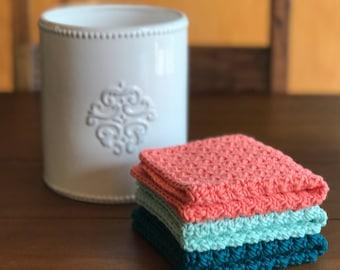 Crochet Dishcloth Set   Modern Kitchen Decor   Kitchen Towels   Knit  Dishcloth   Cotton Dishcloth