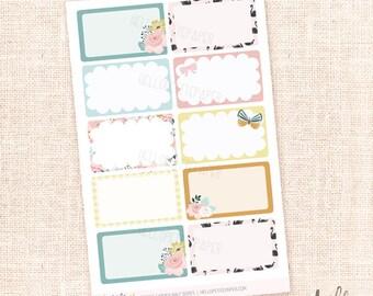 Secret Garden - 10 Half Box Stickers / Functional planner stickers