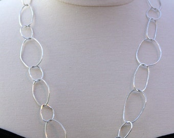 Sterling Silver Organic Circle Link Necklace
