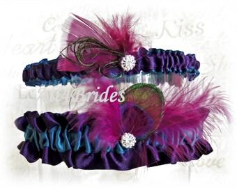 Peacock weddings bridal garter set - Lapis Deep Purple and Teal Satin Garters - Prom Garter