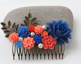 Coral and Navy Hair comb, Coral and navy wedding hair accessories, Bridal hair comb, wedding accessories, Flower Hair Comb, made in Canada