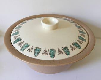 Vintage Metlox Poppytrail Navajo Pattern Round Covered Casserole Dish...Mid Century Modern Metlox  Serving Dish...Modern Abstract Pottery...