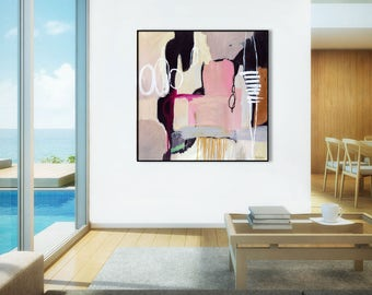 Large abstract print pink, Large pink abstract painting, large pink abstract art print pink, black, grey, abstract canvas art print, Giclee