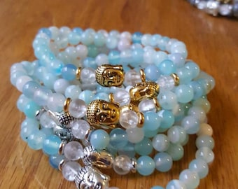 Sky blue agate + silver or gold buddha stackable mala inspired yoga and meditation bracelet/ gemstone bracelet (1 bracelet)