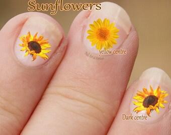 Zonnebloem Nail Art, bloem Nail Art Stickers, vingernagel stickers vinger nail art, bloem, plant, zon bloemen, gele bloem stickers