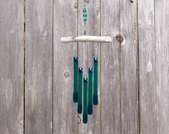 Teal and Blue Wind Chime, Glass Windchime, Ocean Wind Chime, Ocean Colors, Glass Chimes, Teal Glass