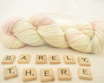 "Hand-dyed yarn, ""Barely There"" variegated, soft and squishy yarn. Great for socks or shawls. 80/20 Superwash wool/Nylon"