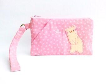 Pink Wristlet Wallet, iPhone Wristlet, Wristlet Pouch, Cell Phone Wallet, Cat Wristlet Bag, Clutch Purse, Cat Wristlet, Zipper Wristlet