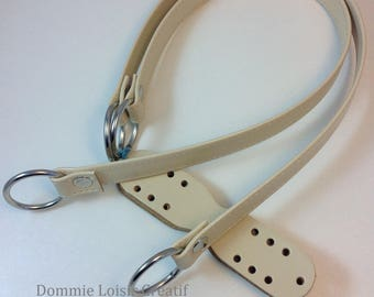 X 2 eco leather Beige - 47 cm bag handles