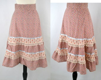 Early 1990s Pink Gingham Floral Tiered Skirt, Boho, Hippie, Hipster, 24 Inch Waist