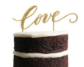 Love Gold Wedding Cake Topper / Gold Glitter Wedding Cake Topper / Bridal Shower Cake Topper / Rustic Vintage Glam Wedding Cake Topper