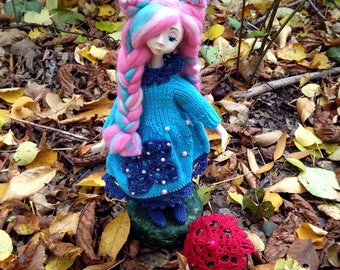 Blue Pink hair interior art doll with umbrella Multyicolor hair cute girl OOAK Single copy Collectable toy in blue dress Female room decor