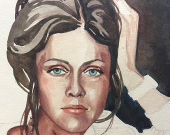 McCleskey Original Watercolor of 70's Female