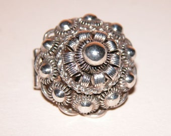 Antique Solid Sterling Silver Victorian Embellished  Brooch