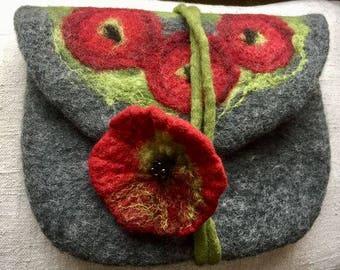felt Carriers  felt bag poppy