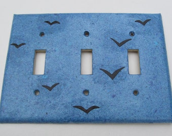 Birds on Blue Sky Recycled Tripple Light Switch Plates-Recycled Handmade Paper