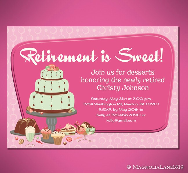 Retirement Is Sweet Party Invitation Cards Customized To - Dessert party invitation template