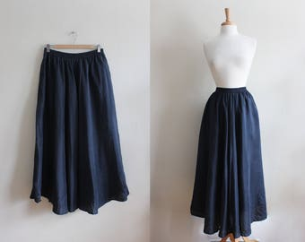 Vintage 1990s Black Silk Midi Skirt