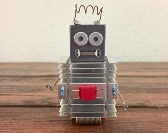 Victor Ventbot / Tiny Robot Sculpture / Found Object Art / Assemblage Art / Recycled Robot / Handmade
