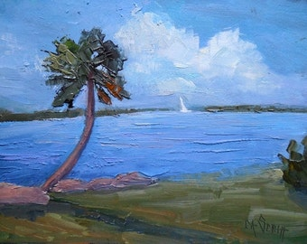 "Tropical Landscape Painting, Florida Painting, Waterscape, ""Sunday Sail"" , 6x8"" oil painting, Free Shipping in US"