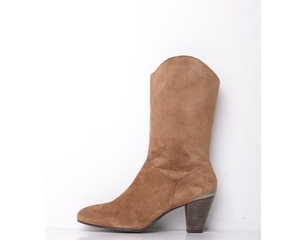 New Calf Length Leather suede cowboy/western boots  -  size UK 8
